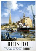 Bristol Harbourside. Vintage BR(WR) Travel poster by Frank A A Wootton.